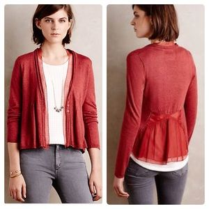 Anthro Sleeping on Snow Aral Cardigan Maroon Red